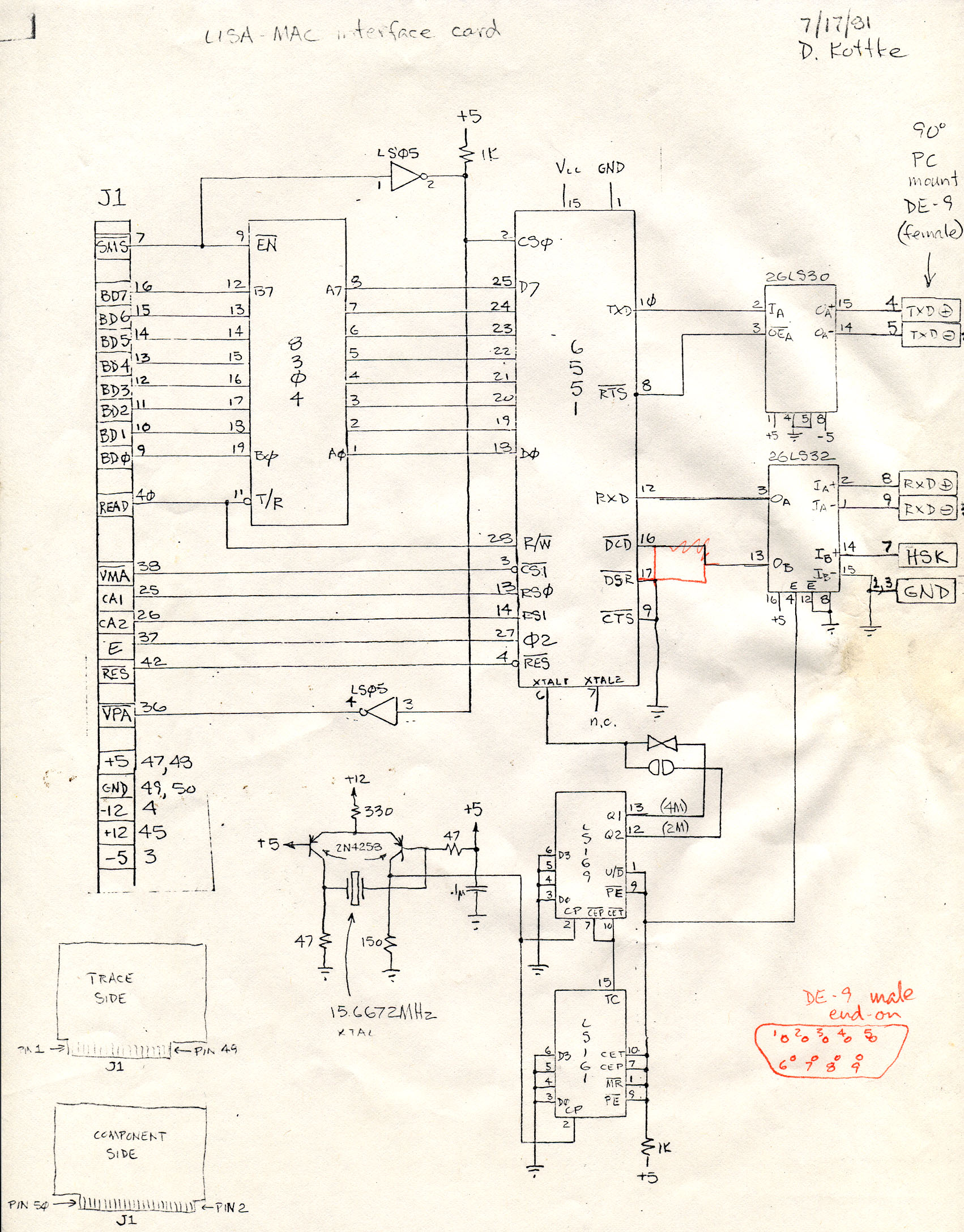 DigiBarn Diagrams: Early Mac and Lisa Interfacs Schematic Designs