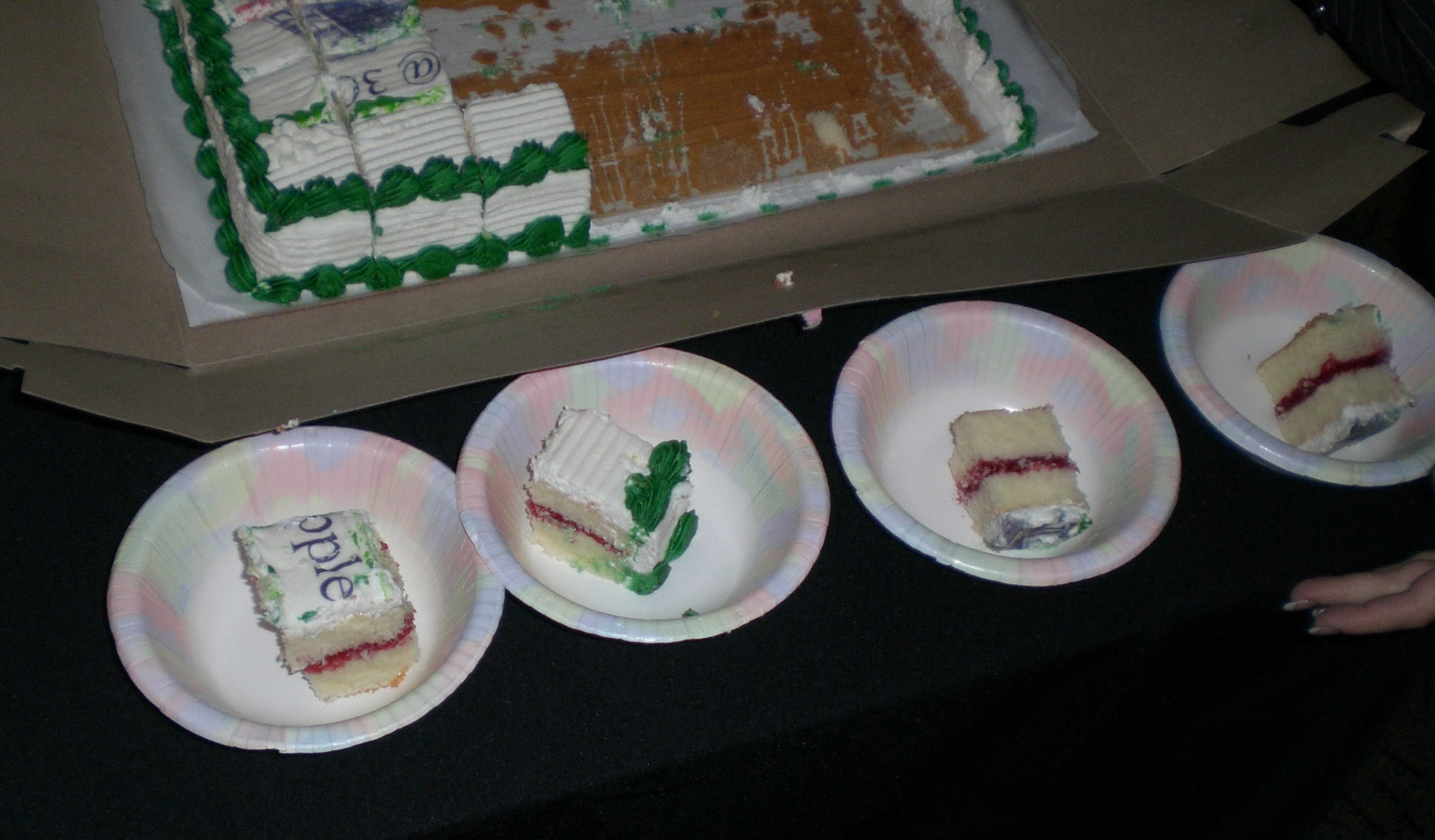 Cakes lined up